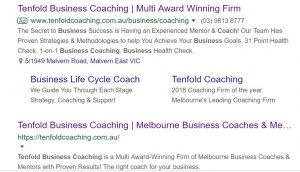 Tenfold Business Coaching Google Ad