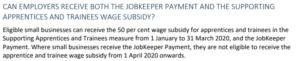 JobKeeper for apprentice
