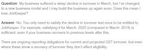 JobKeeper business bounce back