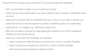 JobKeeper calculate GST turnover