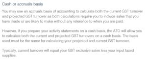 JobKeeper cash or acccrual basis
