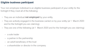 JobKeeper eligible business participant