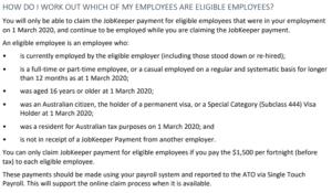 JobKeeper eligible employees