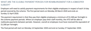 JobKeeper eligible pay periods