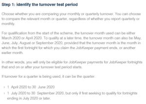 JobKeeper identify turnover test period