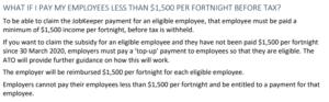 JobKeeper pay less 1500