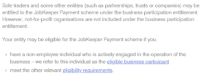 JobKeeper sole traders and directors