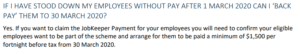 JobKeeper stood down back pay