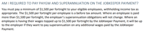 JobKeeper superannuation