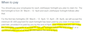JobKeeper when to pay employees