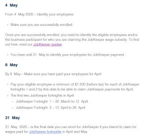 JobKeeper key dates