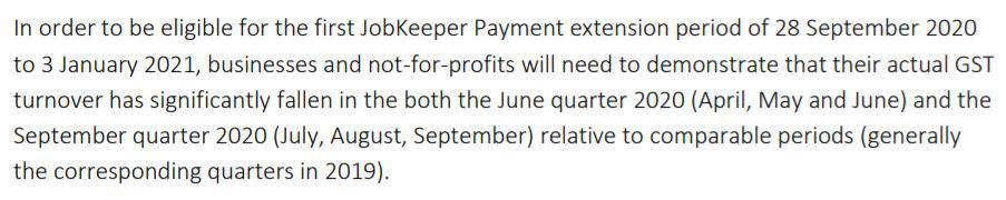 JobKeeper assessment extension period 1