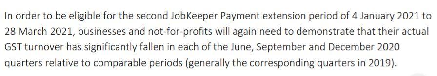JobKeeper assessment extension period  2