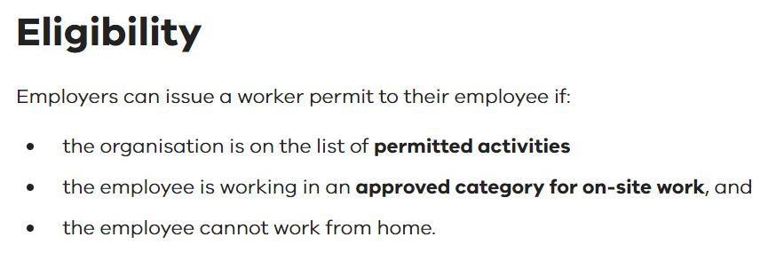 Victoria COVID-19 Stage 4 Eligibility for Worker Permit
