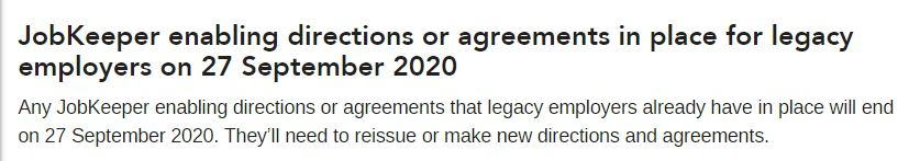 JobKeeper legacy employer end provisions
